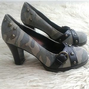 MIA Angelina Studded Heels Camouflage Size: 7